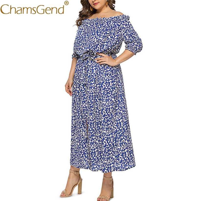 Women Summer Off Shoulder Long Dress Fashion Lady Half Sleeve Leopard Print Boho Beach Party Dress XL,2XL,3XL,4XL,5XL 90514