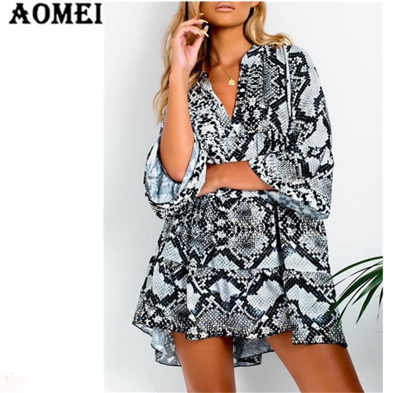 Women Mini Dress Tunics Snake Skin Printed Loose Leopard V Neck Femme Flare  Sleeve Ladies Fashion Short Dresses Robes Sext Wear beefcb4f6faa