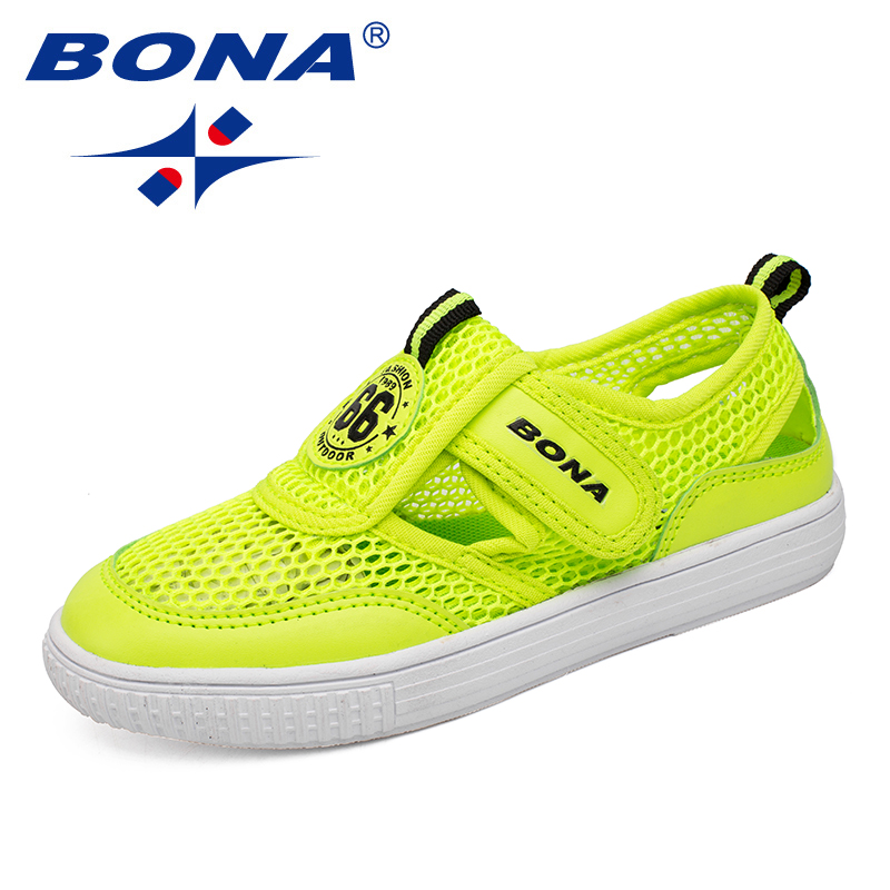 BONA New Fashion Style Children Casual Shoes Candy Color Mesh Upper Boy & Girl Sneakers Hook & Loop Kids Shoes Free Shipping