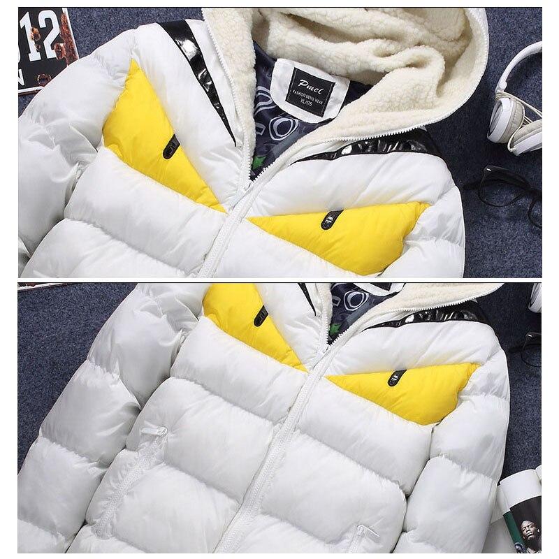 Nuevo diseño de moda 2018 chaqueta de invierno para hombre gran contraste de Ojos de algodón acolchado Parka Puffer con capucha Veste Homme Hiver - 6