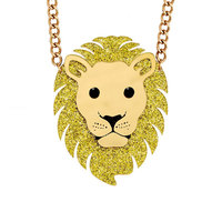 Hip Hop Jewelry Acrylic Animal Animal King Fashion Lion Head Pendant Necklace Gold Glitter Filled For