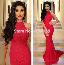 Neue Ankunft 2016 Sexy Elegante High Neck Mermaid Red Prom Dresses Lace Frauen Abendkleider Lange Zug Kostenloser Versand F & M1006