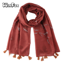 Winfox Fashion Red Pink Grey Leaf Printed Tassel Scarves Women Spring Beach Shawl Ladies Casual Long Soft Wrap Scarf Female