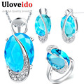 30% Off Wedding Bridal Jewelry Sets 925 Sterling Silver Crystal Necklace Earrings Ring Blue Jewelry Set Mystic Uloveido T155