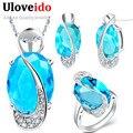 30% de descuento de la boda nupcial sistemas de la joyería de plata de ley 925 anillo aretes collar de cristal azul de la joyería mystic uloveido subestación blindada t155