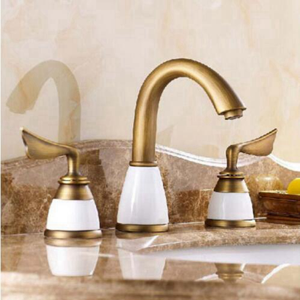 Antique Brass Widespread Bathroom Faucet 3pcs 8 Sink Mixer Tap
