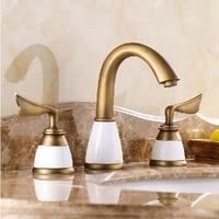 Antique Brass Widespread Bathroom Faucet 3PCS 8 Sink Mixer Tap Dual Handles