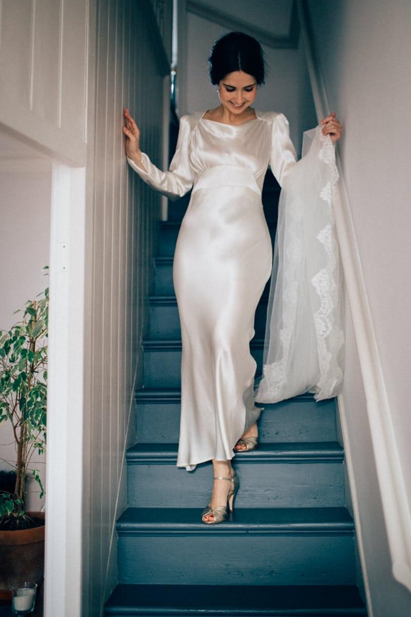 Long Sleeve Boat Neck Pretty Fancy Ankle Length Silk Satin Wedding Dress