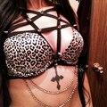 PENTAGRAM ARNÉS Crop Top Remache Gótico Esclavitud witchy exótica lencería sexy fetiche negro cuerpo Elástico jaula Arnés Sujetador del desgaste Rave