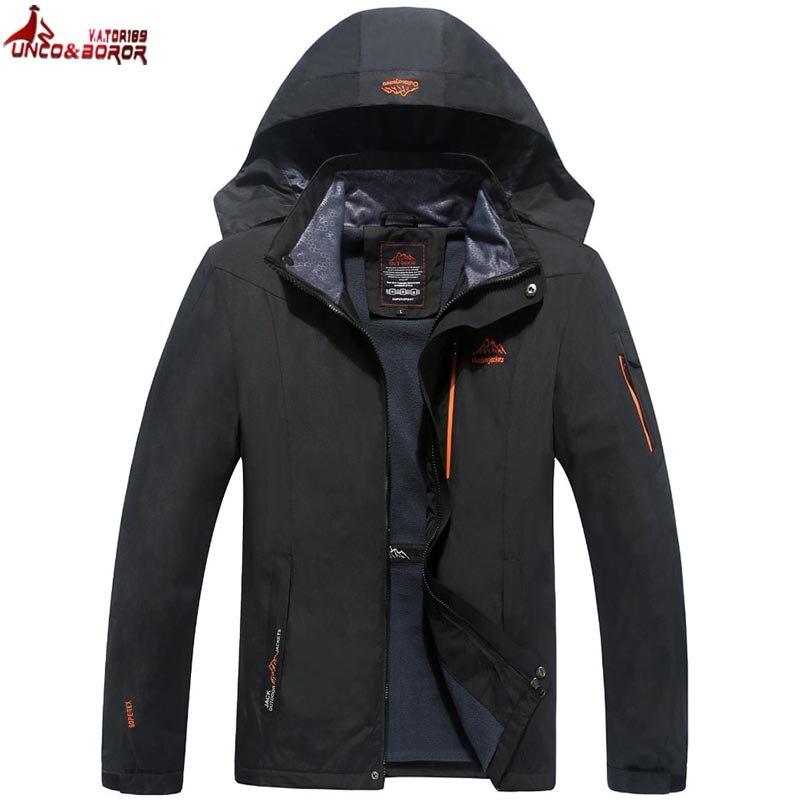 UNCO y BOROR tamaño 6XL 7XL 8XL hombre chaqueta de primavera y otoño de la marca de calidad impermeable chaqueta a prueba de viento chaqueta de montaña del turismo chaqueta los hombres
