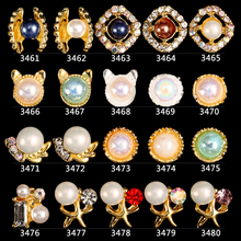 100PCS/lot Gold Nail Jewelry Colorful Starfish Cat Head Art Charms Rhinestones 3D Sticker For 3461-348