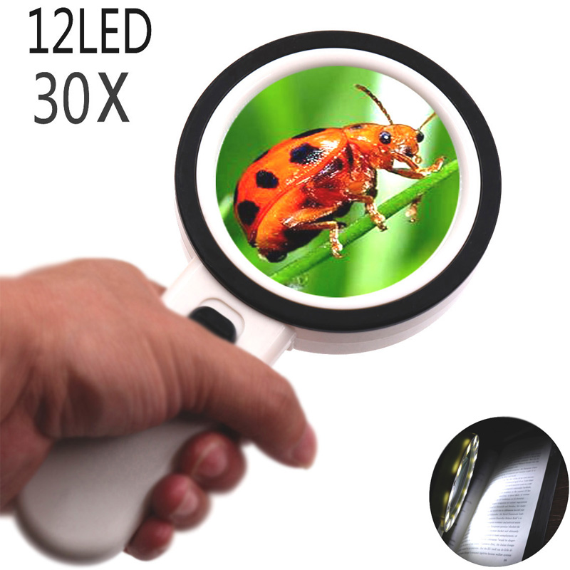 Large Lens Magnifying Glass 12 Led Lights 30x Handheld Magnifier Reading Newspaper Magnifying Glass Coin Jewelry Lab Loupe