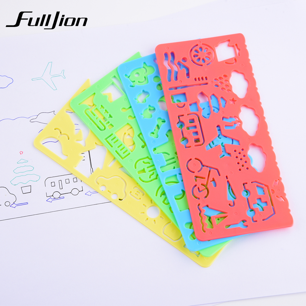 Fulljion 4 pcs Template Ruler Kids Learning Education Drawing Toys Board Painting Tools School Stationery Spirograph Sketchers