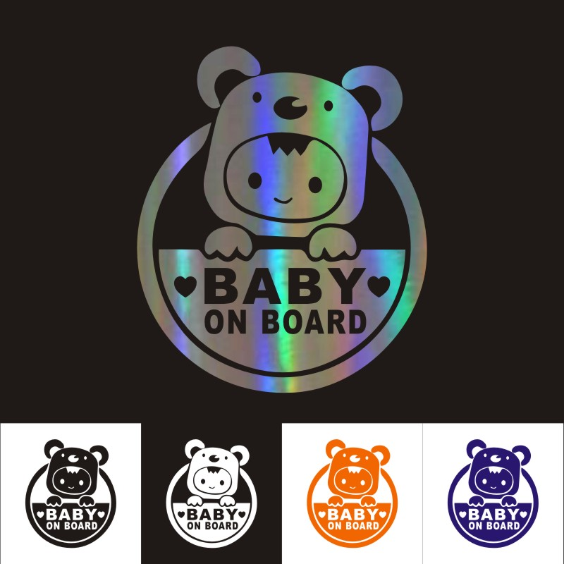 Car Stickers 13CM*15CM Baby On Board Car Motorcycles Decal Decoration 3D Reflective Decal Car Styling Custom Sticker