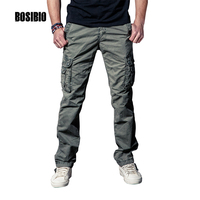 Men's Military Multi Pockets Cargo Pants Full Length Midweight Black Grey Casual Pants Spring Summer Tactical Style Size 29-40