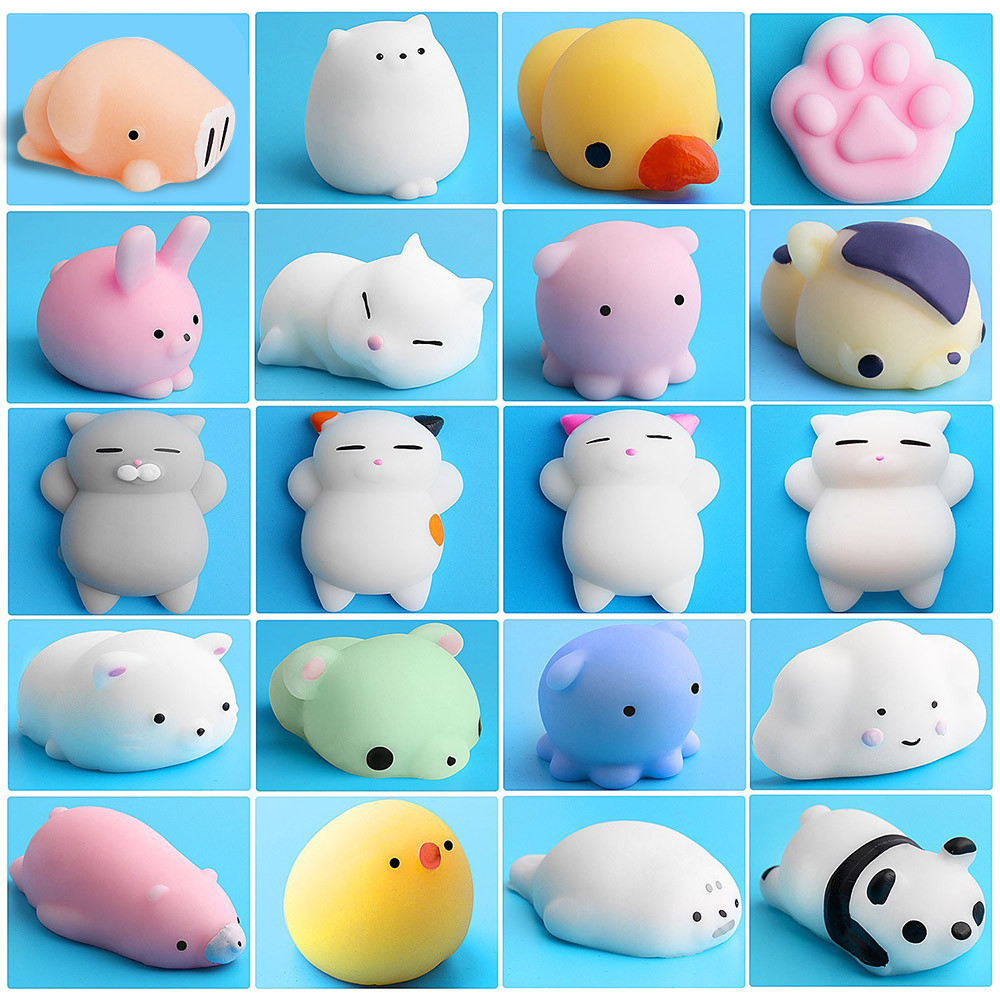 Cute Mochi Squishy Cat Fun Kids Toys Gift 20pcs Squeeze Squishy Toys Slow Rising Healing Fun Kids Kawaii Toy Stress Reliever
