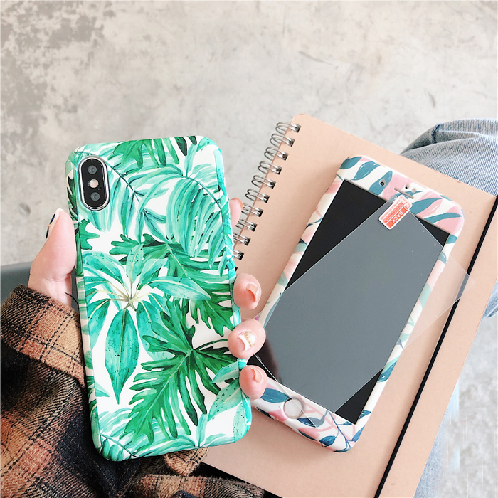 For iPhone 7 7plus Luxury <font><b>360</b></font> Cases , Front & Back matte cover coque For iphone X 6 <font><b>6S</b></font> 6Splus 8 8plus Tropical flower leaf case image