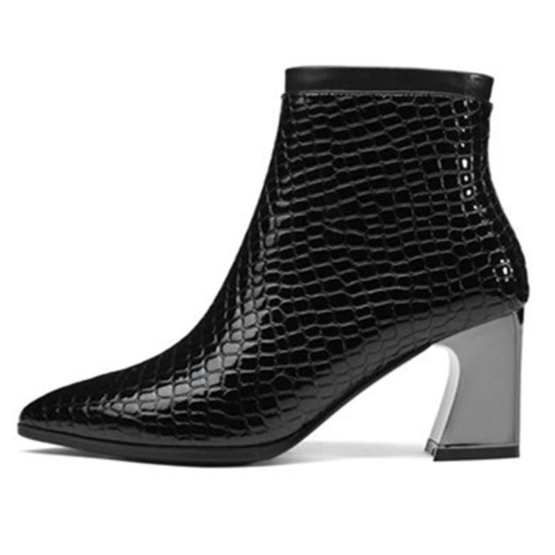 Las Genuino Otoño Botines Invierno Vaca Tinto Para Botas Mujeres Punta Zapatos Cuero Zip Smeeroon De Boda Altos Estrecha vino Tacones Negro ZPnBIcqq