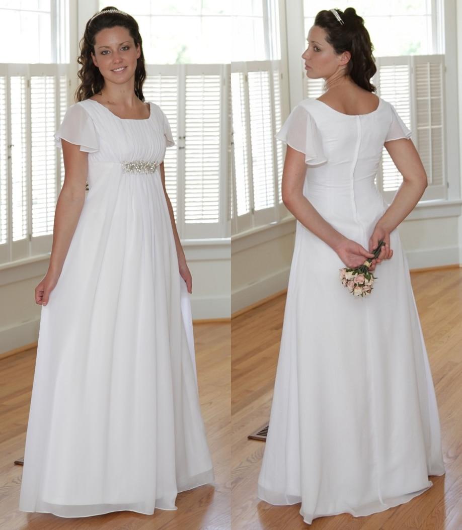 Summer Simple A-line Chiffon Modest Wedding Dresses With Flutter Sleeves Beaded Waist Informal Modest LDS Bridal Gowns