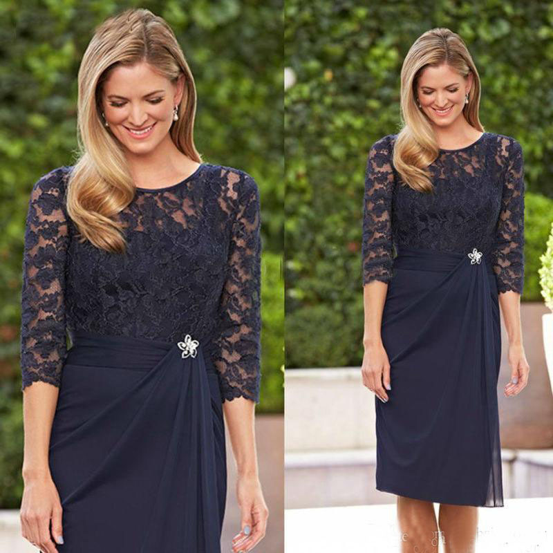 robe de soiree Navy Blue Knee,length Short Mother of the Bride Dresses with  3/4 Sleeves Mother Party Dress Cheap