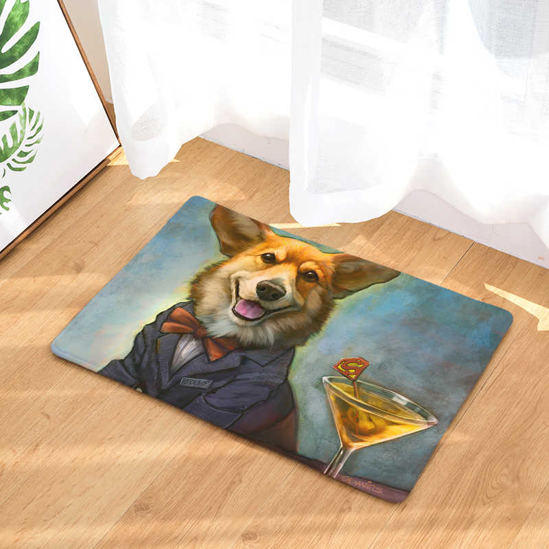 Nuevo felpudo alfombras personalidad pintura al óleo perro estampado esteras piso cocina baño alfombras 40X60or50x80cm