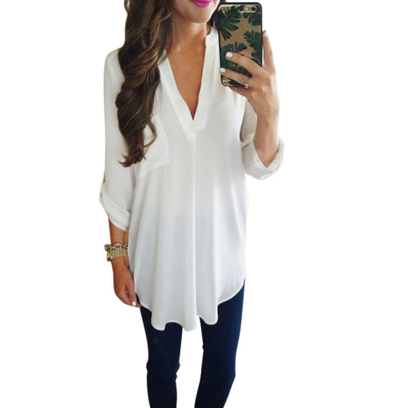 2019 Fashion Women's Loose Three Quarter Sleeve   Blouse   Casual V-Neck White Green   Blouse     Shirt   Tops S-3XL