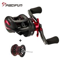 Piscifun Phantom X Baitcasting Reel with Spare Shallow Spool 3 Gear Ratio Carbon Fiber Handle Low Profile Smooth Fishing Reel