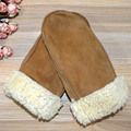 2016 Fashion Winter Genuine Leather Gloves Mittens Women Real Sheepskin Ladies Fingerless Gloves Warm Female Mittens