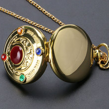 New Full Hunter Golden Sailor Moon Quartz Pocket Watch Chain Necklace Womens Gifts