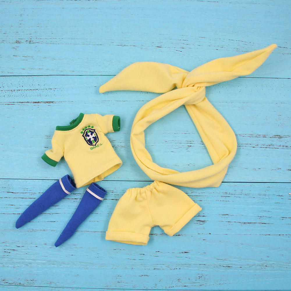 Blyth clothes for 1/6 doll yellow soccer outfit football Brazil team uniform joint normal body licca ICY BJD gift