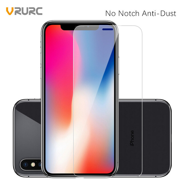 size 40 1d1f9 24f4a US $3.59 |VRURC Upgrade 9H Tempered Glass For iPhone X Anti Dust Glass Film  No Notch Screen Protector For iPhone 10 Front Protective Film-in Phone ...