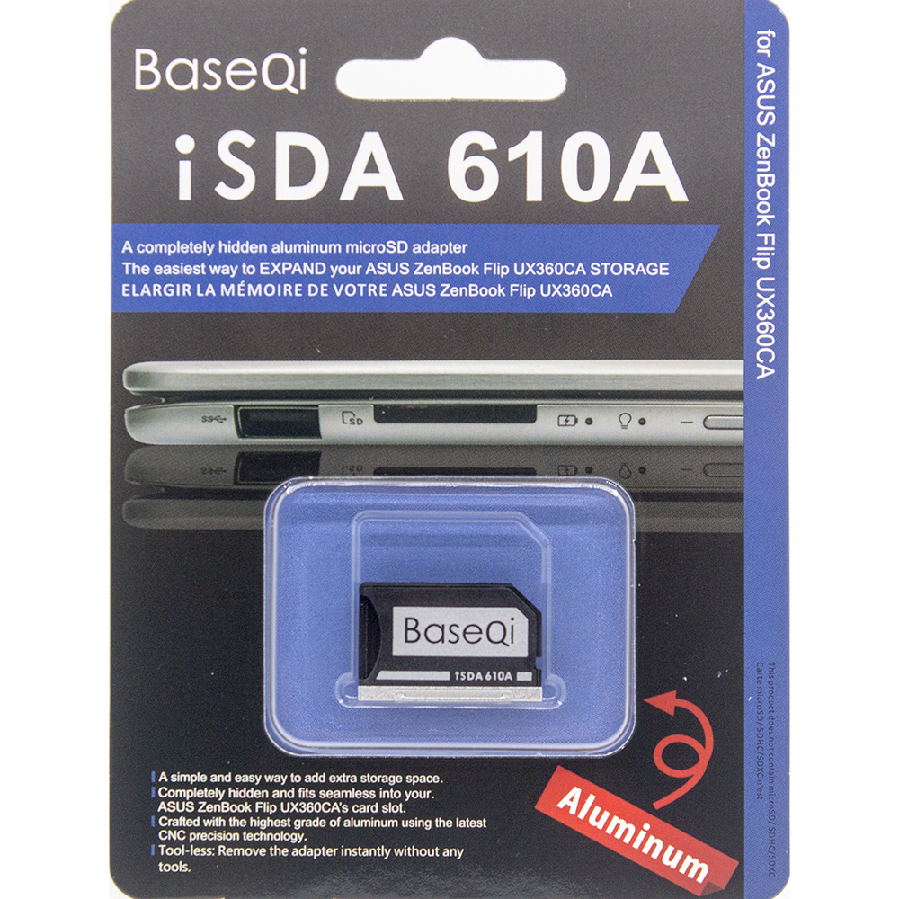 BaseQi Aluminum MiniDrive Micro SD Card Adapter For Asus ZenBook Flip ux360CA(Model 610A)