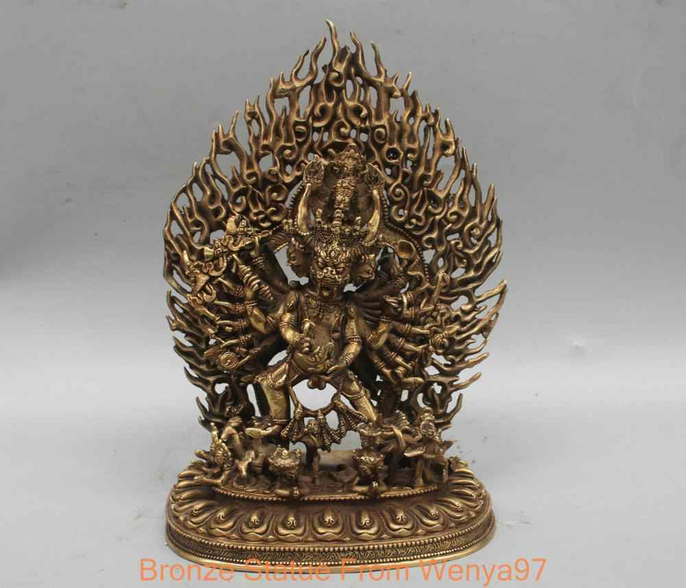 12'' China Tibet Yamantaka Lord of Hell Bull Head Buddha Bronze Statue