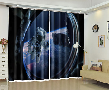 Astronaut Window 3D Curtains Drapes For Bedroom Living room Office Hotel Home Decorative Wall Tapestry Custom Size