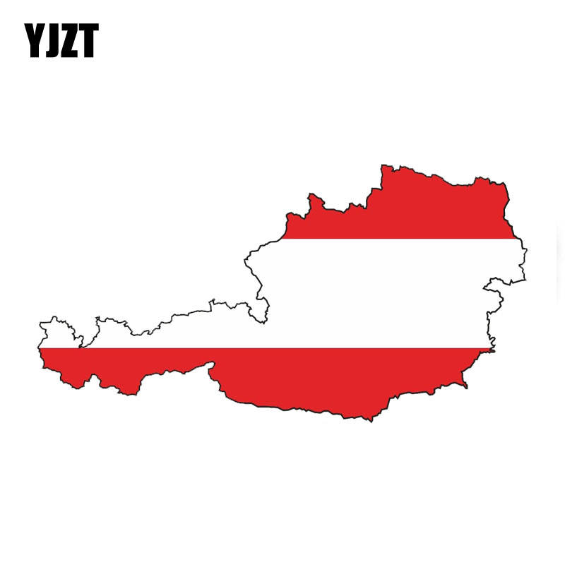 YJZT 14.2CM*7.4CM Reflective Austria SILHOUETTE Flag Car Sticker Decal Accessories PVC 6-0426
