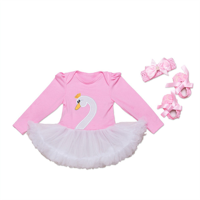 Infant Clothing Sets For Newborn Baby Girl Embroidered Swan Romper Tutu Dress+Headband+Shoes Baby Shower Party Baby Girl 2017