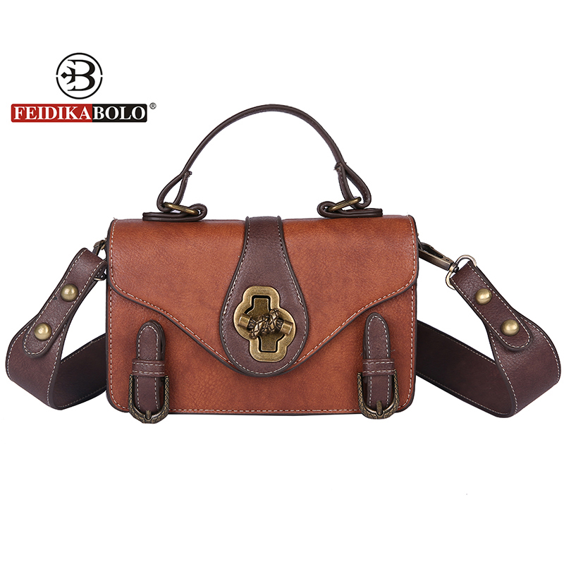 FEIDIKABOLO Brand Vintage PU Leather Women Bag Famous Desiger Crossbody Bag Fashion Lock Small Women Messenger Bag Sac New 2018