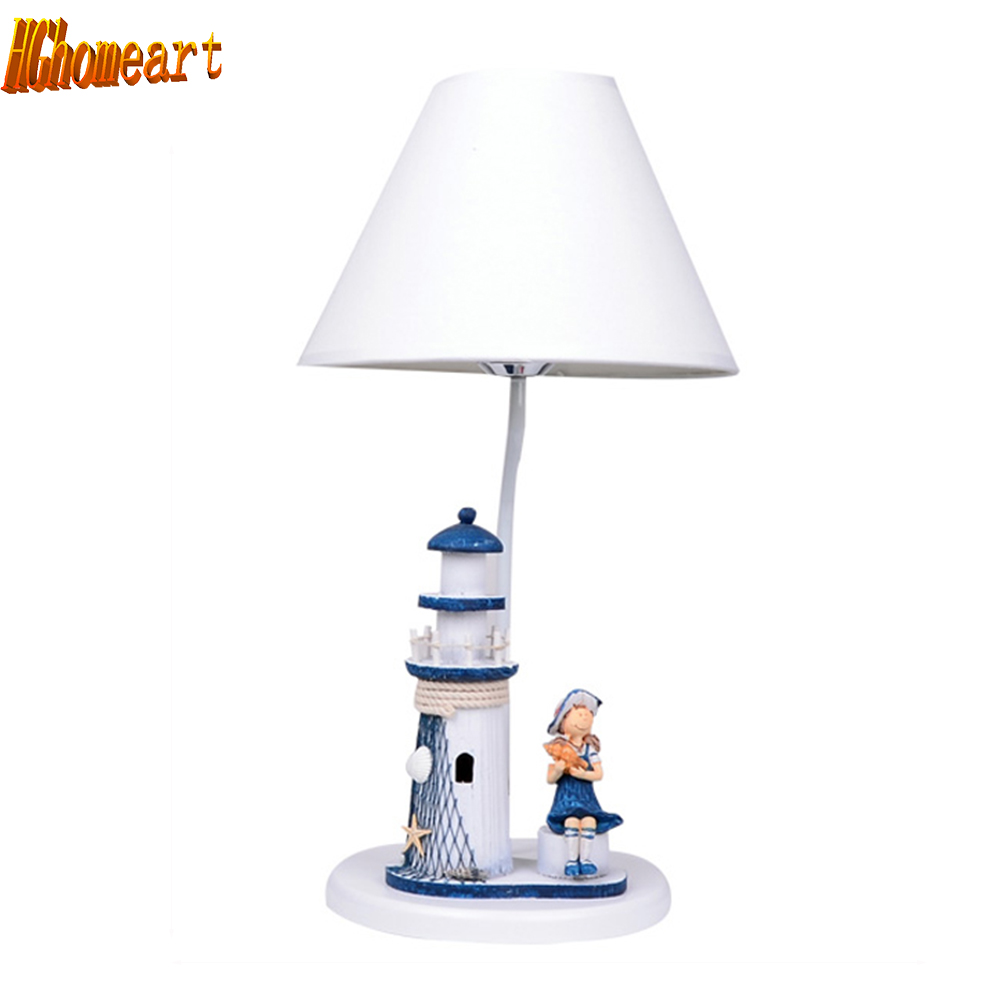 HGhomeart Mediterranean Style Led Table Lamp E27 Bulb 110V-220V Boy Wooden Desk Lamp Bedroom Light Romantic Reading Bed Light