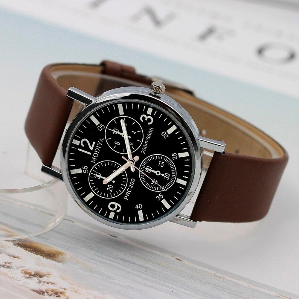 Watch Menzegarek mesk reloj hombre montre homme Three Eye Watches Quartz Men's Watch Blue Glass Belt Watch Men relogio masculino 4