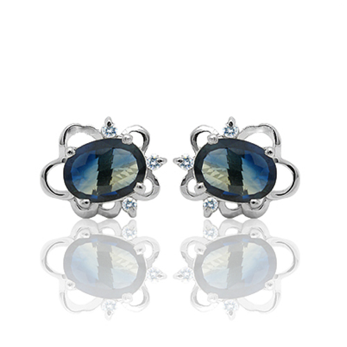 2017 Qi Xuan_Free Shipping Dark Blue Stone Flower Stud Earrings_S925 Solid Silver Fashion Earrings_Manufacturer Directly Sales 2017 Qi Xuan_Free Shipping Dark Blue Stone Flower Stud Earrings_S925 Solid Silver Fashion Earrings_Manufacturer Directly Sales