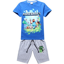 2018 Summer New My World Cartoon Boy Jeans Clothing Cotton T-shirt + Casual Pants Shorts Boys Clothing Cotton T-shirt Child Set