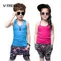 V-tree conjuntos de roupas de bebê meninos meninas roupas de verão sem mangas t camisa Short Terno Define Para Meninos Das Meninas Do Bebê Crianças Esportes roupas