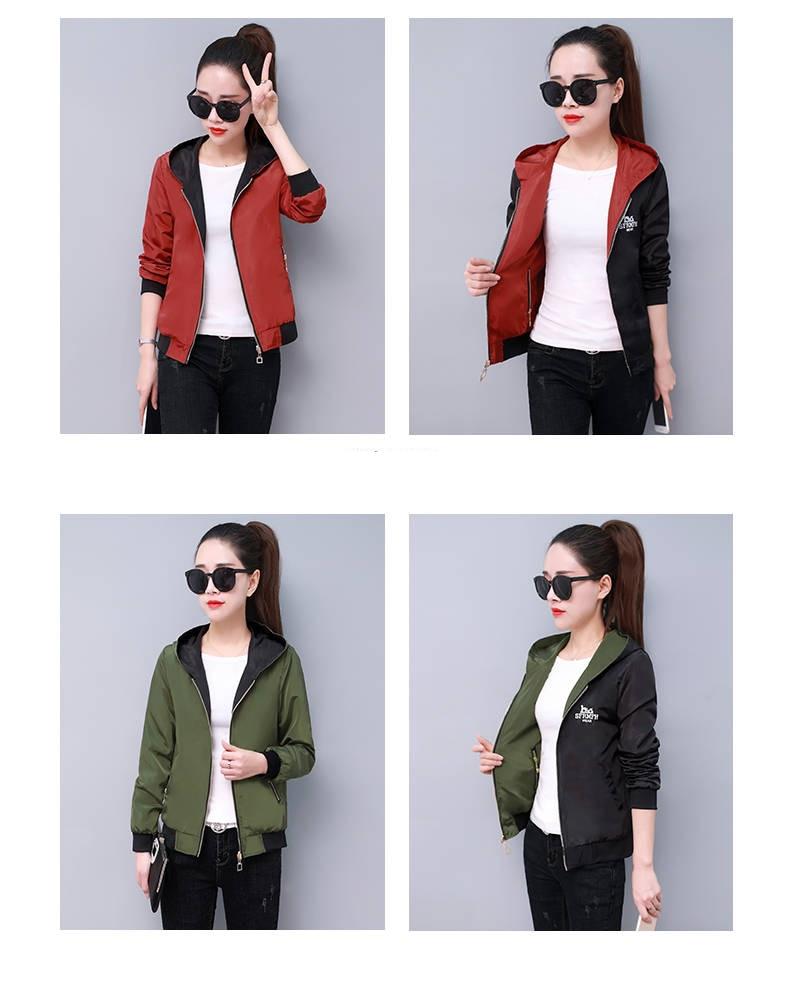 Windbreak Jacket Women Long Sleeve Hooded Coats Spring Autumn Casual Solid Zip Up Basic Jackets for Women