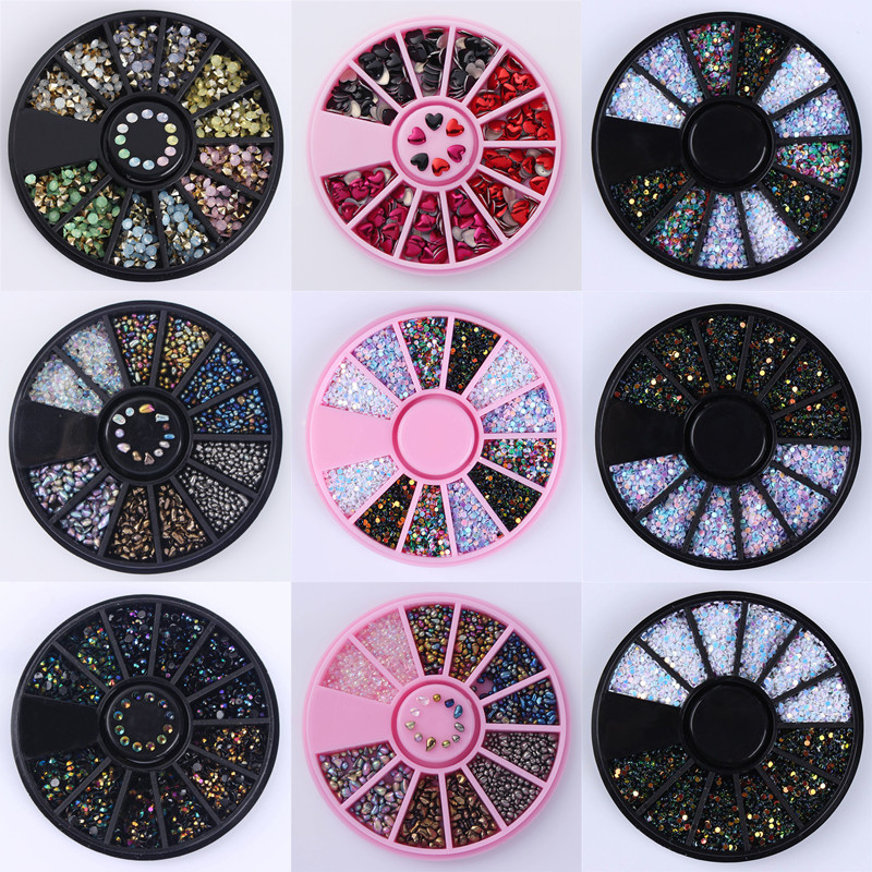 1 Box Shinning Nail Rhinestone 3D Nail Decoration in Wheel Mixed Color Irregular Beads Wafer Round Decor DIY Nail 30 Patterns