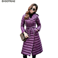 New Down Jacket Women Slim Jacket Coat Autumn Winter Fashion Thin And Light Long Parka Hooded Big Yards Female Outerwear Q825