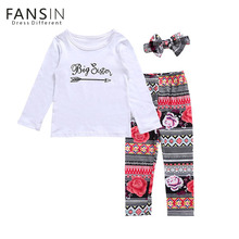 Fansin Brand 3pcs/Set Family Matching Clothes Little Big Sister Match T Shirts Rompers Ethnic Long Pant Headdress Kids Clothing