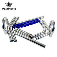 PQY 2.25' '57mm TURBO INTERCOOLER PIPE 2.25 L=600MM CHROME ALUMINUM PIPING PIPE TUBE+T CLAMP+ SILICONE HOSES BLUE 1717