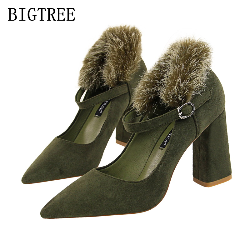 Bigtree women shoes high heel ladies fur shoes woman pumps extreme high heels wedding shoes mary jane shoes women luxury 2017 luxury brand crystal patent leather sandals women high heels thick heel women shoes with heels wedding shoes ladies silver pumps