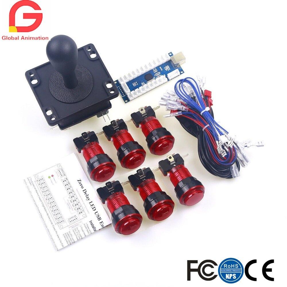 Аркадная игра «сделай сам» для Mame USB Кабинета 1 x Нулевая задержка USB кодер + 8Way Happ джойстик светодиодный ная подсветка аркадная кнопка