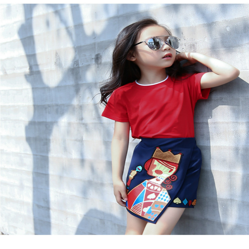 Special Offer 2016 Summer Family Clothing Set Parent-Child Attire Short-Sleeve T-Shirt Skirts 2Pcs Suits Parentage Clothes